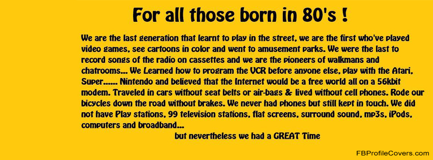 Born in 80s Facebook Timeline Cover