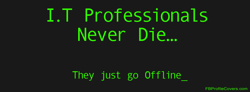 IT Professionals Never Die Facebook Timeline Cover