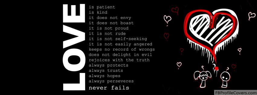 Love Never Fails Facebook Timeline Cover