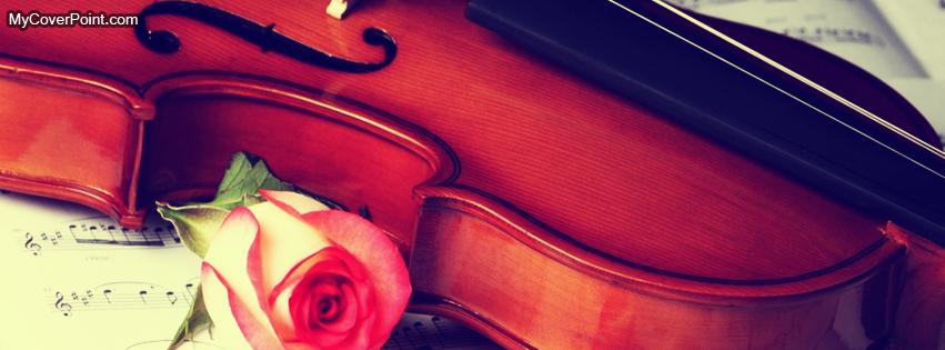 Violin And Red Rose Facebook Timeline Cover
