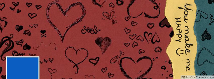 You Make Me Happy Facebook Timeline Profile Cover Hearts Fb Timeline Banner