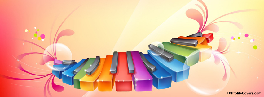 colorful piano facebook cover, fb timeline cover