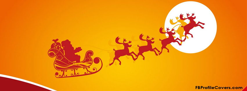 santa and reindeers fb timeline cover