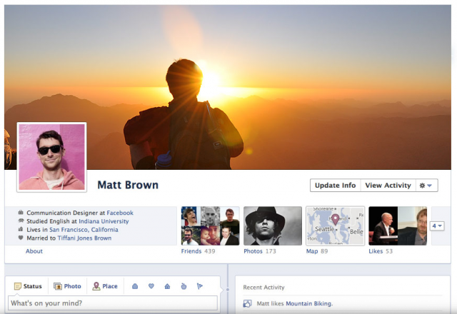 Facebook Timeline profile cover view